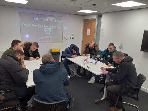 Employability Workshop in progress - groupd of peole sitting round desks