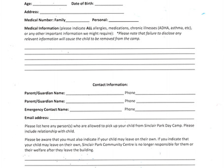 Day Camp Applications
