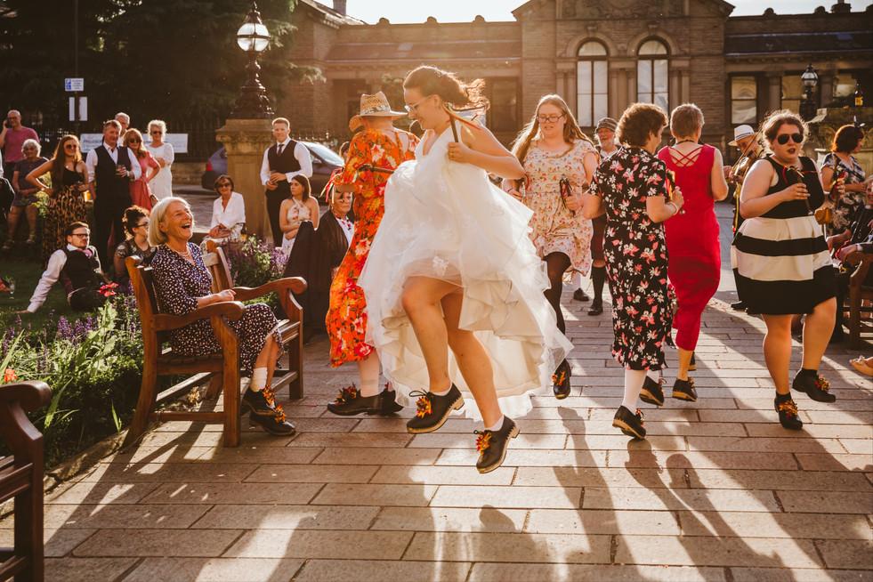 Morris Dancing Bride In Saltaire, Bradford