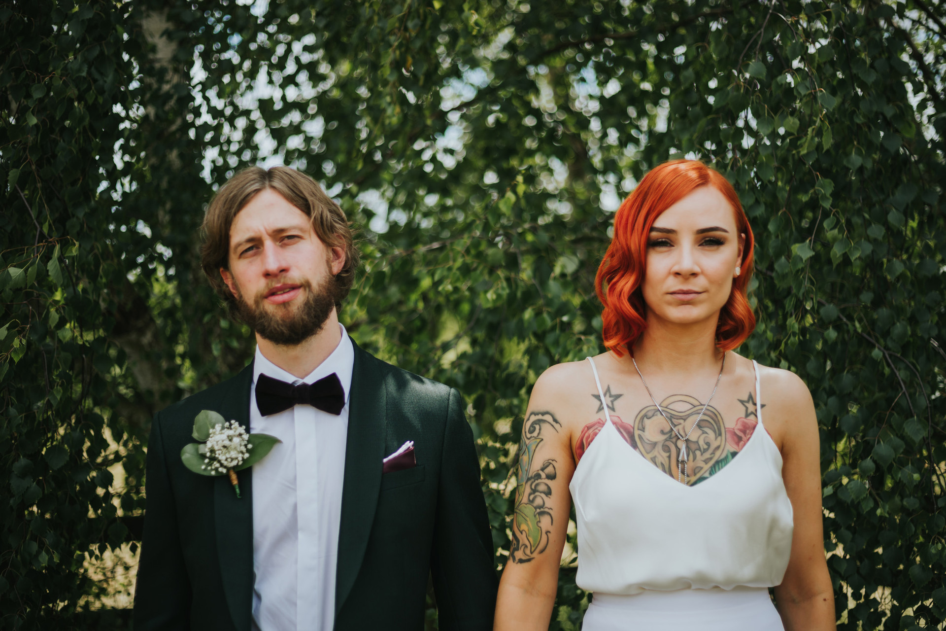 tattoed bride in a ghost orchid dress