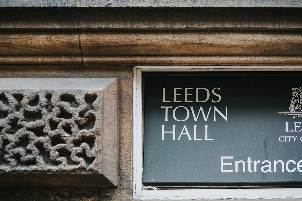 Sign outside Leeds Town Hall