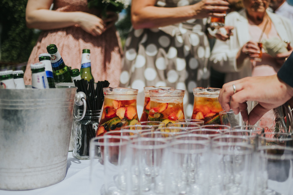a table of pimms to serve to the wedding guests