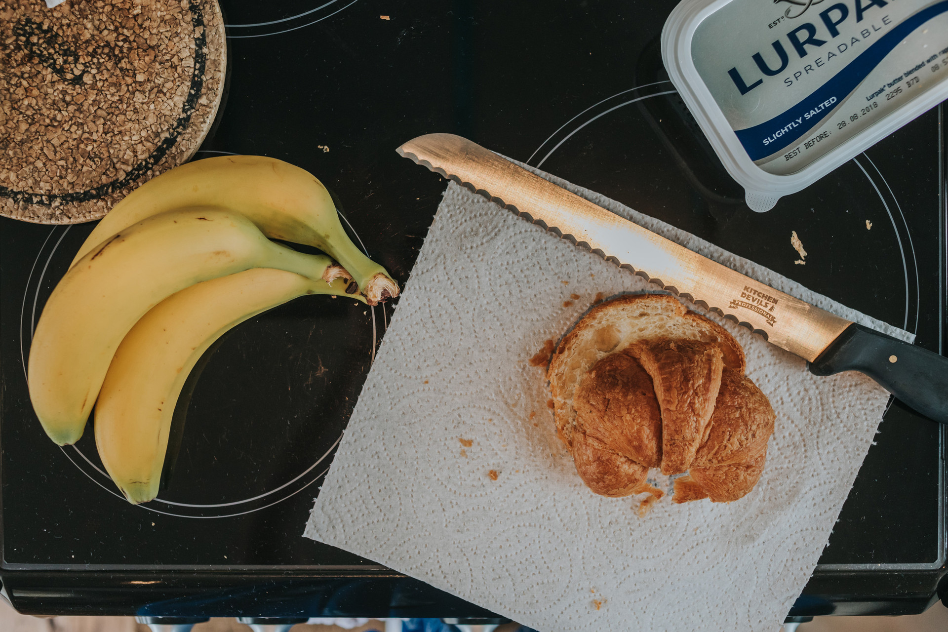 Banana and croissants for bridal prep breakfast