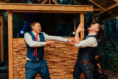 Guests dancing outdoors at Hazlewood Castle