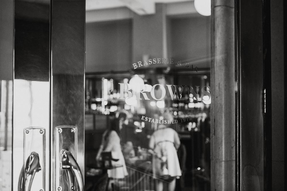 Door into Browns bar, Leeds