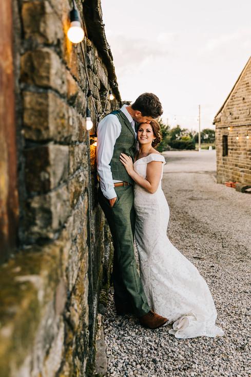 bride and groom at Blossom Barn, Holmfirth