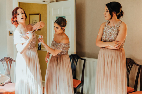Bridesmaids getting ready at Hazlewood Castle