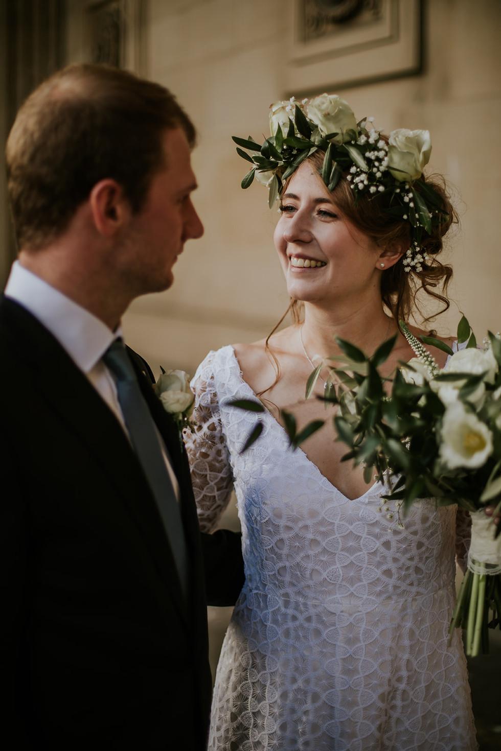 boho bride wearing a flower crown in Leeds