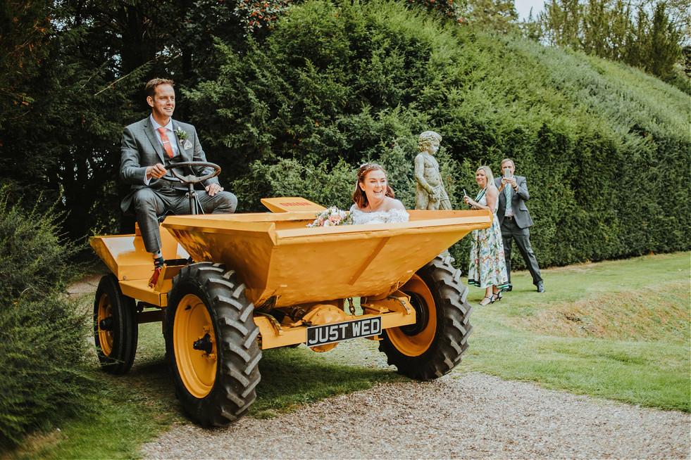 Bride in a digger