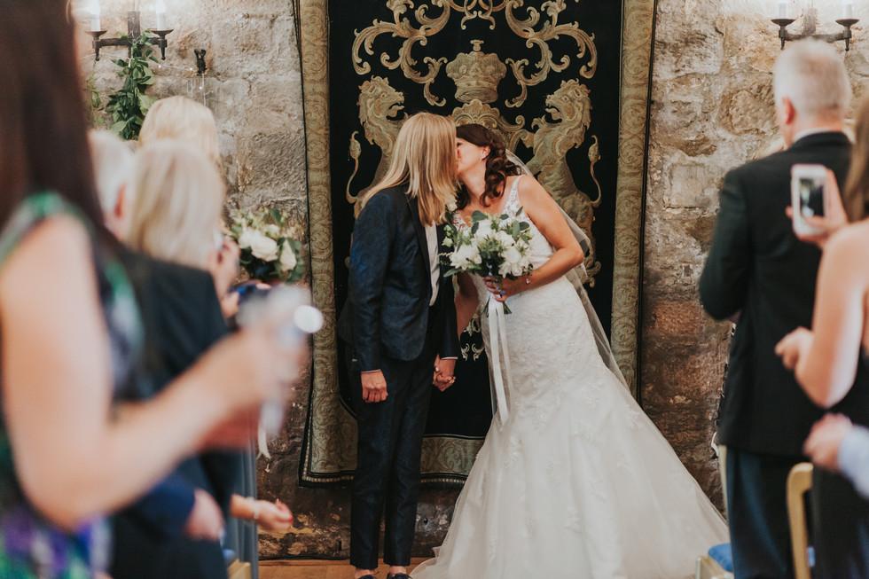Wedding ceremony at Danby Castle