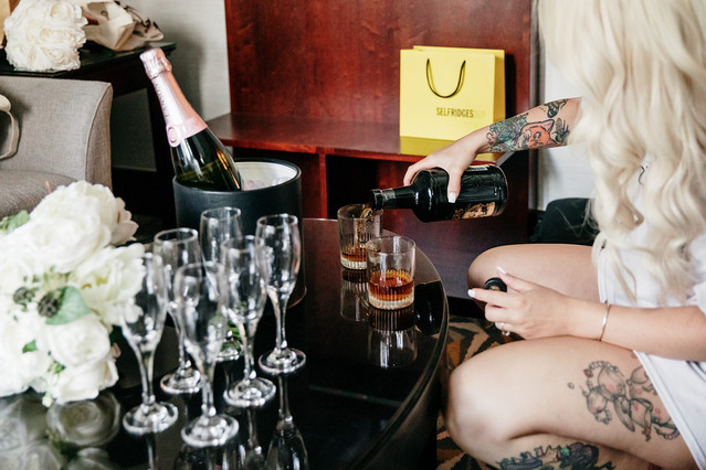 Bridal prep drinks at a hotel in manchester