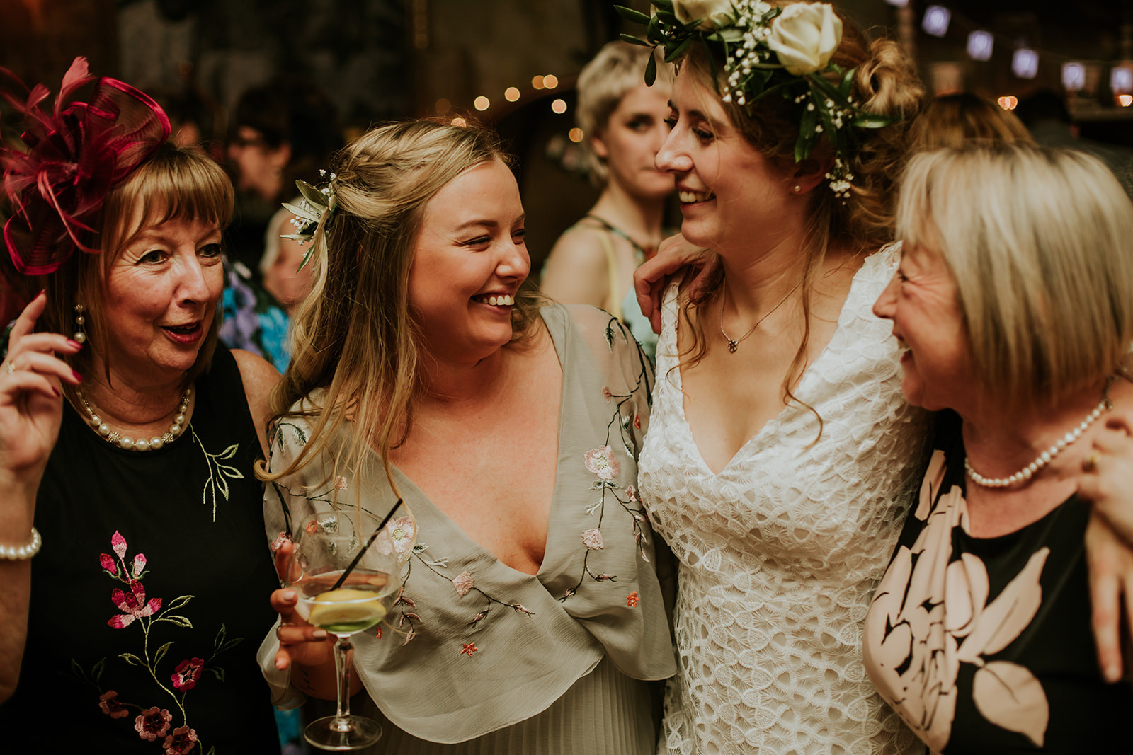 the bride and her friends laughing together