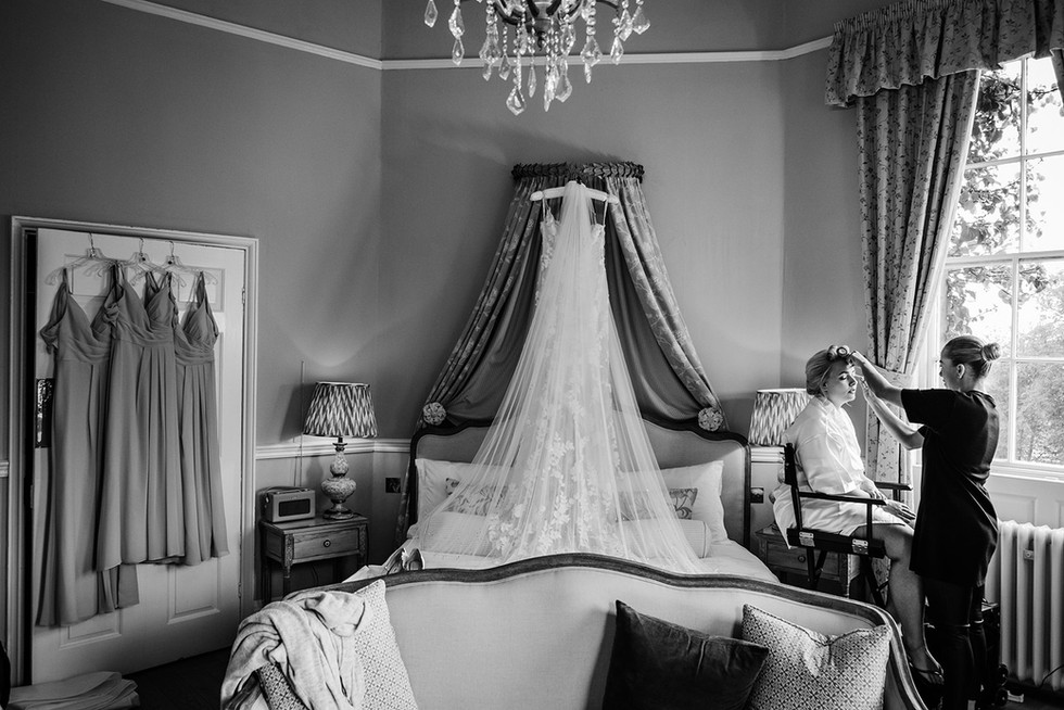 Bride getting ready at Middleton Lodge