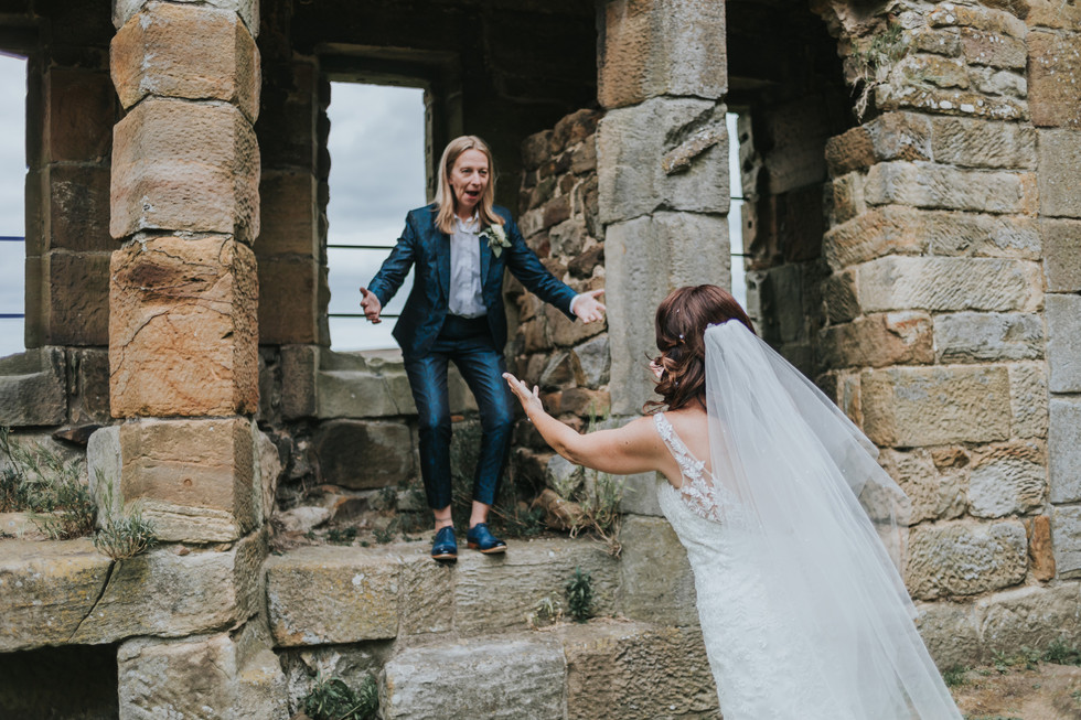 Two brides in the ruins of Danby Castle