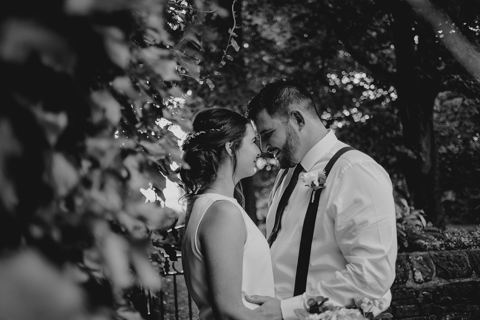 bride and groom next to some trees in halifax lookin at each other