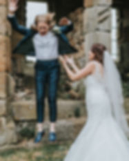 Two brides in the ruins at Danby castle