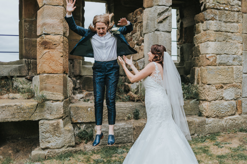Bride jumping from the ruins of Danby Castle