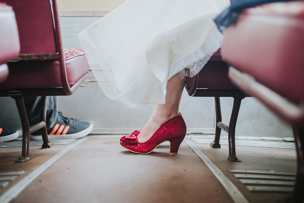 red sparkly Dorothy bridal wedding shoes