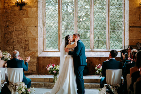 Couple having the first kiss at the Priests House, Bolton Abbey