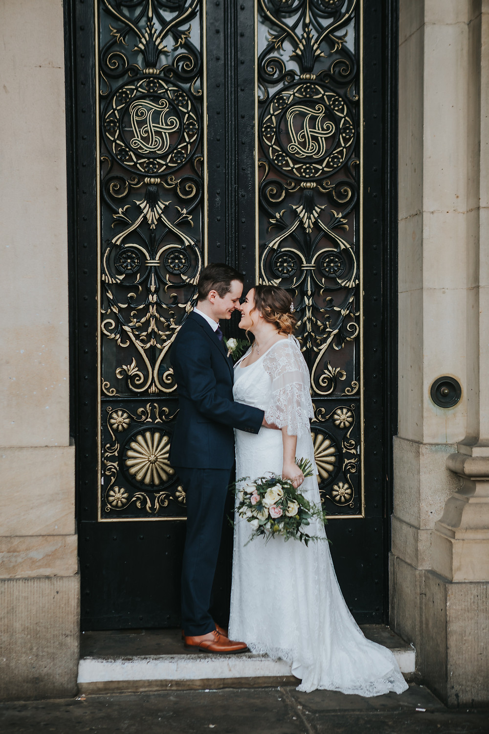 couple at the doors of leeds town hall