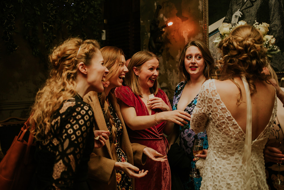 the brides friends laughing