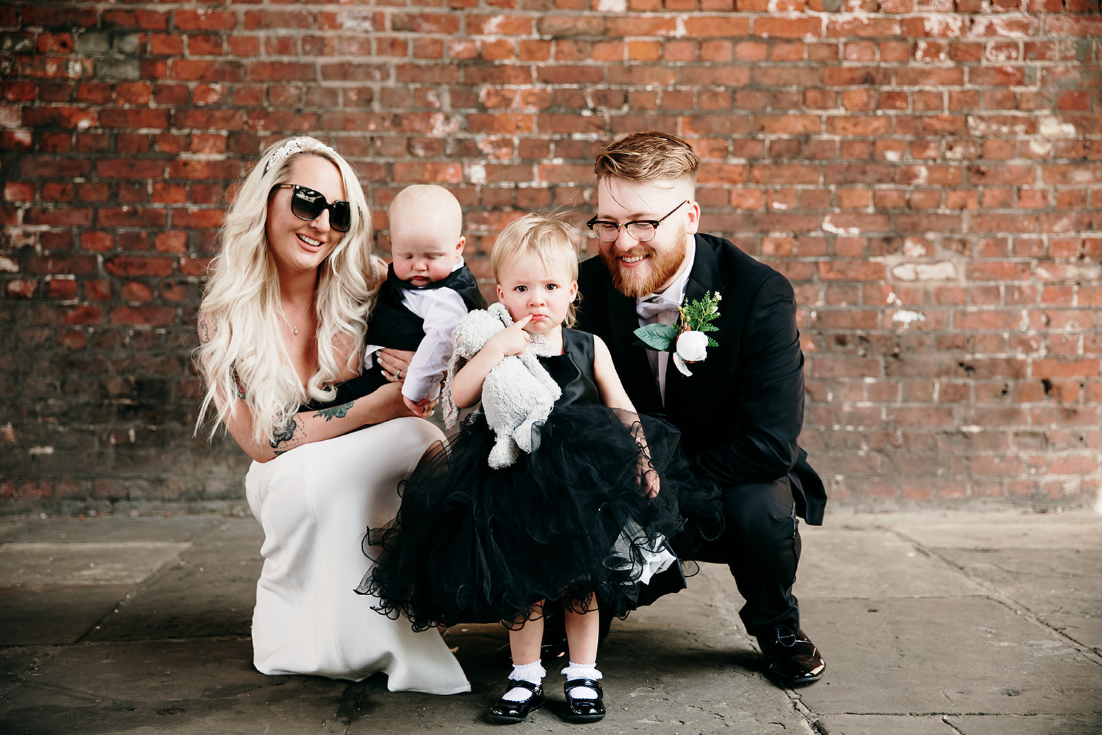 family wedding photo at castlefield, manchester