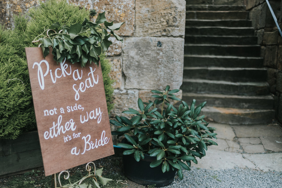 Wedding sign announcing the brides at Danby Castle