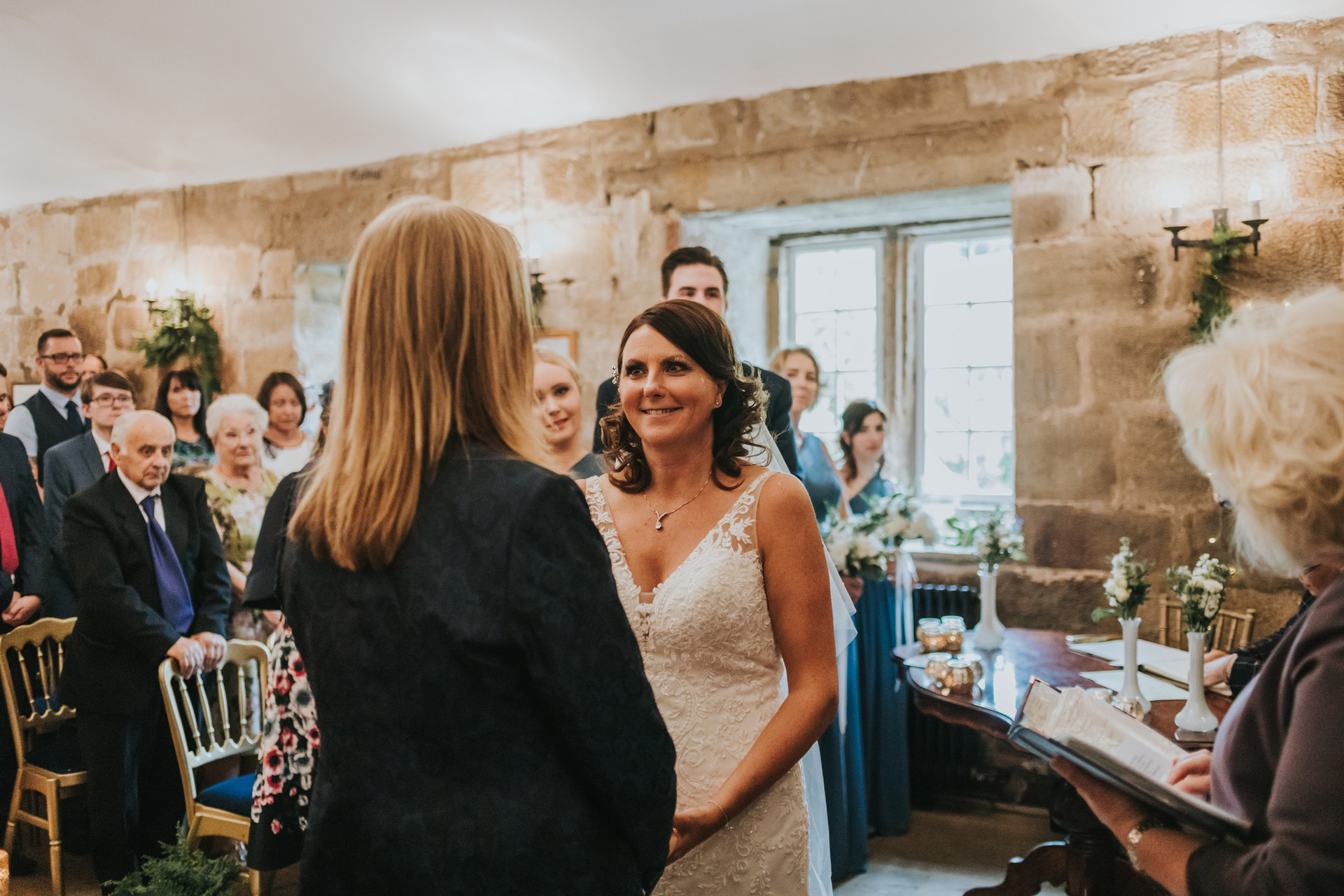 Wedding ceremony taking place at Danby Castle