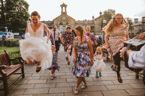 Morris Dancing bride at Saltaire, Bradford