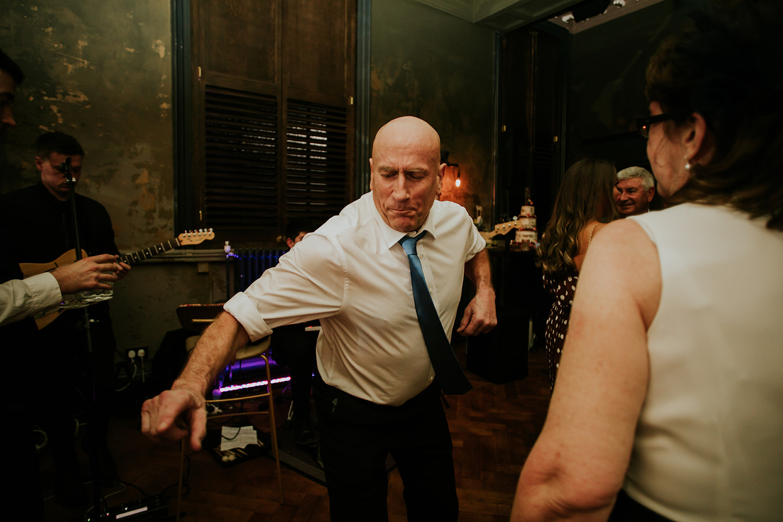 wedding guests dancing in the secret bar at the lost and found leeds club