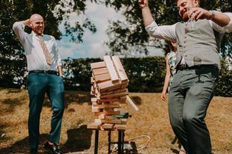 Guests playing jenga at Bolton Abbey Wedding