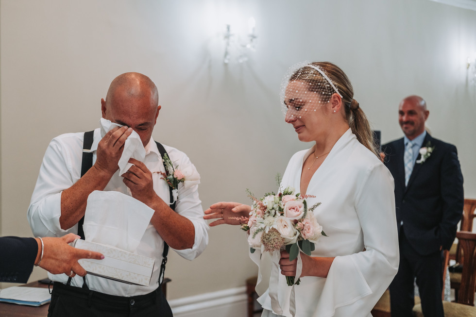 Wedding ceremony at harrogate register office, bilton house
