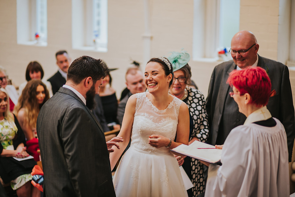 bride and groom during wedding ceremony in west yorkshire