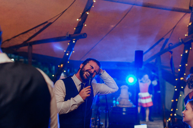 wedding band performing in the tipi at hazlewood castle