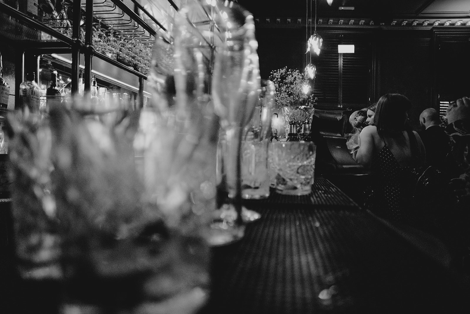 empty glasses on the bar
