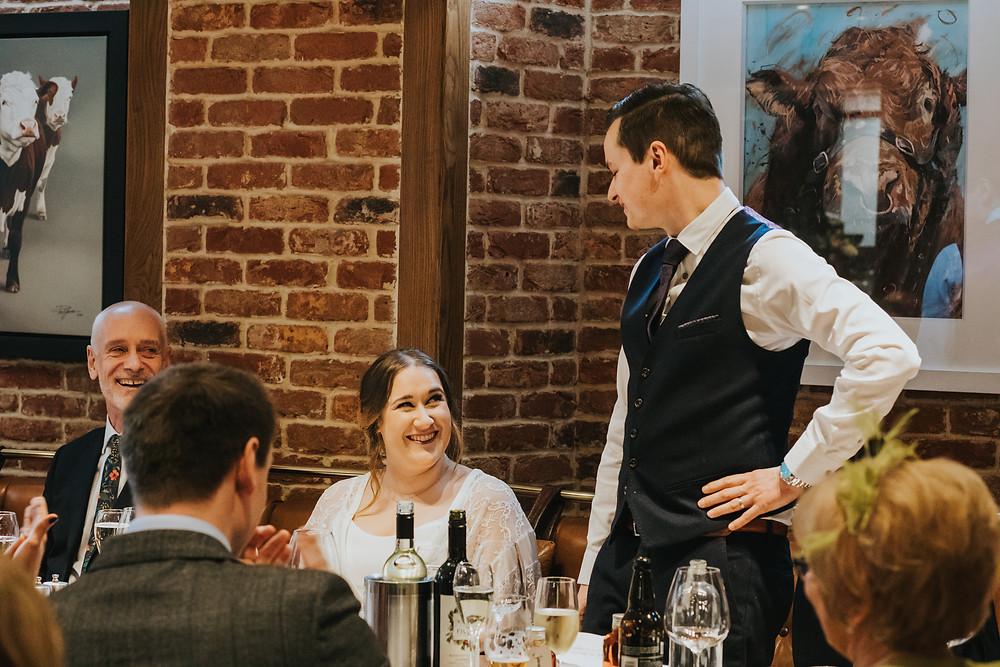 smilling bride, yorkshire wedding photography
