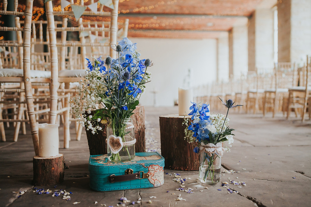 Flowers at a wedding at The Arches