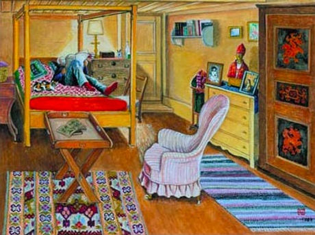 Setsuko Klossowska, La chambre de Balthus, 1988, Gouache on paper _ Gouache sur papier, 50x67.5cm_ed