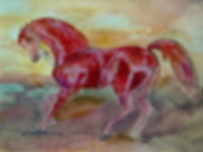 Harumi Klossowska, Cheval arabe bai _ Arabian horse, 2002, Watercolour and tempera, 23x29cm_edited.j
