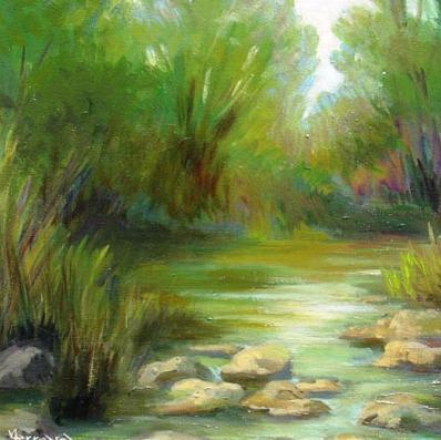 Vanya Ferrara, Etang a Bunratty Park, 33x33, Oil_Canvas carton_edited.jpg