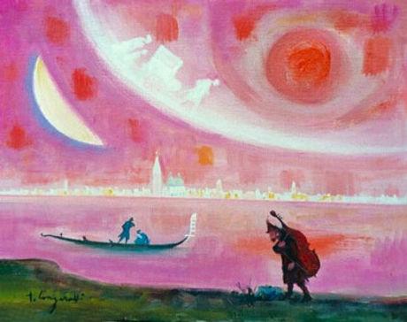 Trento Longaretti, Pink shaded dream in Venice, 2002, Oil on canvas - Huile sur toile, 50x40cm_edite