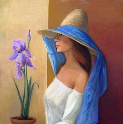 Vanya Ferrara, Fille a l'iris, 70x70, Oil_Canvas_edited.jpg