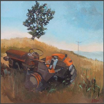 Arno Boueilh, Le tracteur, 35x35, Huile_Panneau.jpg