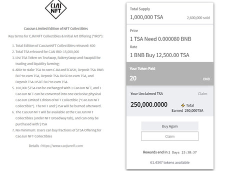 TSA Successfully Launched NFT Initial Art Offering Platform & Sold 26 NFTs for a Total of 212 BNB