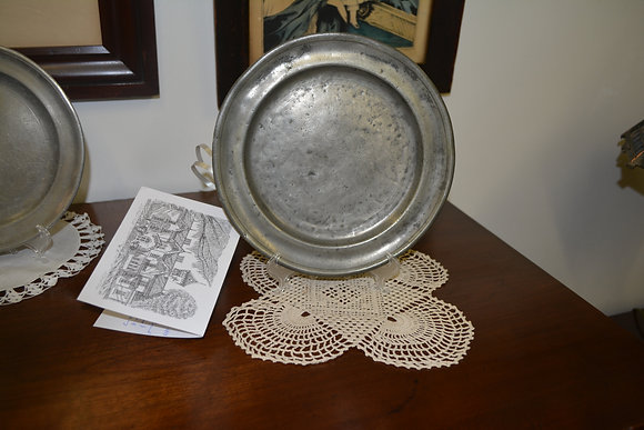 """Pewter Plate 9"""" dia - American, Early 19th Century"""
