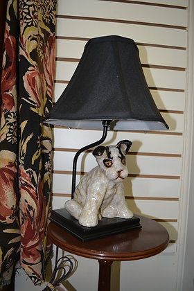 Puppy Lamp with Silk Shade