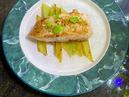 Serious Celery - Seared Halibut With Braised Celery & Bacon Jus