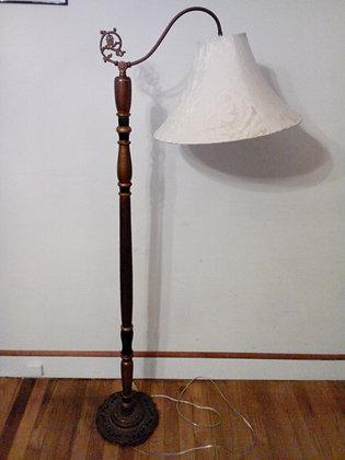 1920's Vintage Floor Lamp, Scroll Iron Top