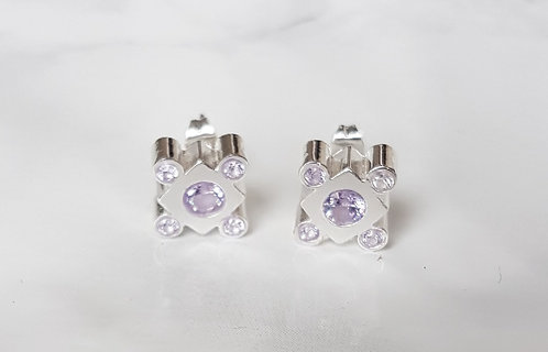Lily square Crystal studs- Silver & Lavender