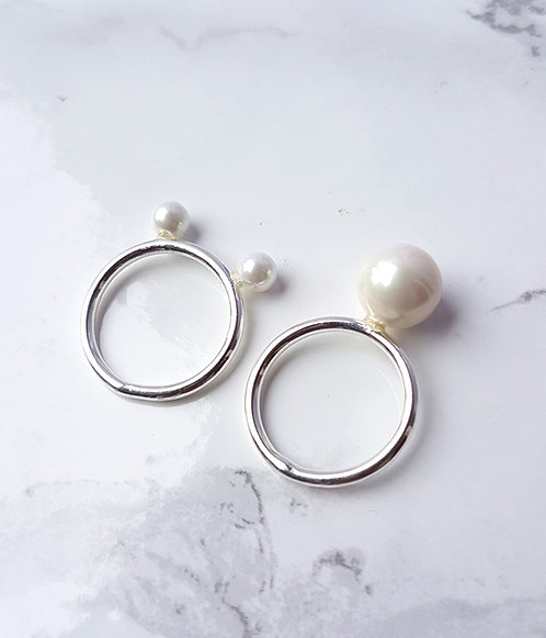 Double Pearl rings-Silver